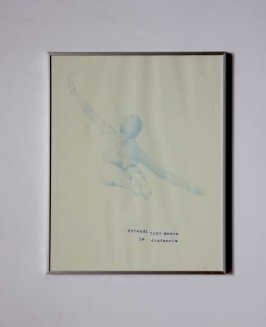 Anto Rabzas / Serie: El idioma de los pájaros / PA. 1 / 40 x 50 cm. 2015 collage, lápiz de color azul sobre papel.