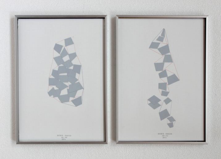 Anto Rabzas Serie UBI 14-15. Collage sobre papel y tinta. Sierra de Irta. 2014. 21 x 29.7